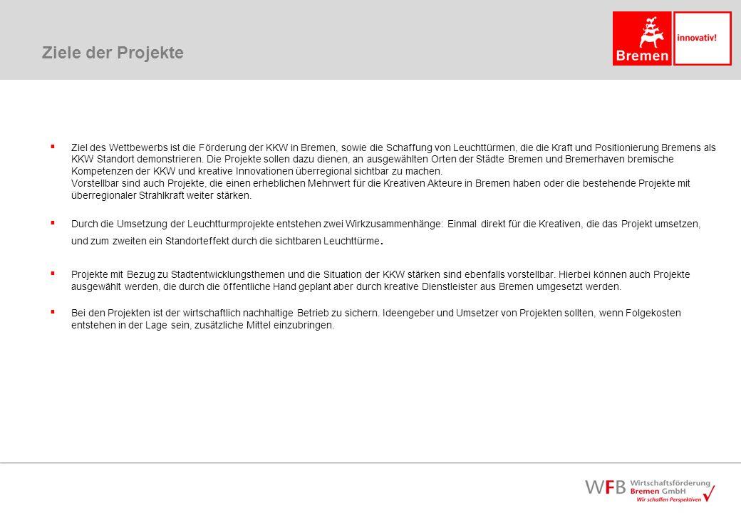 Ziele der Projekte Ziel des Wettbewerbs ist die Förderung der KKW in Bremen, sowie die Schaffung von Leuchttürmen, die die Kraft und Positionierung Bremens als KKW Standort demonstrieren.