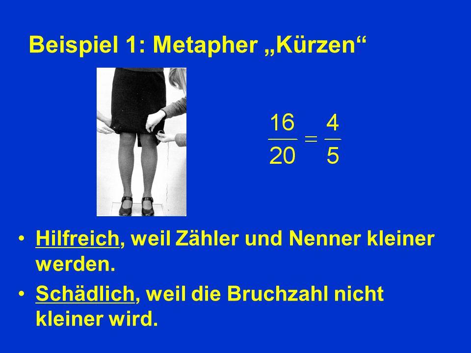 Beispiel 1: Metapher Kürzen Hilfreich, weil Zähler und Nenner kleiner werden.