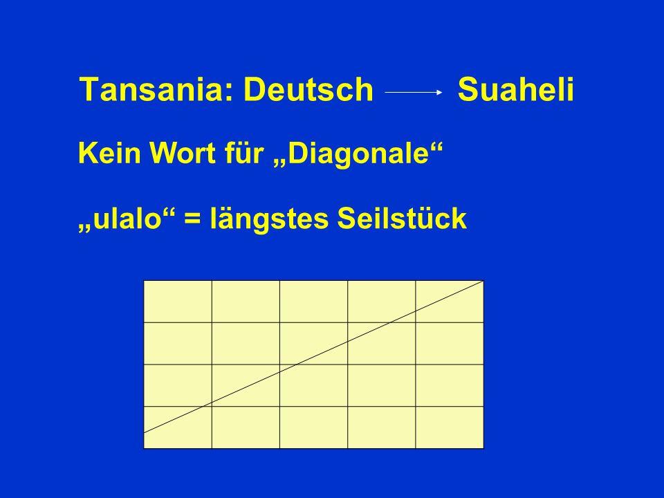 Tansania: Deutsch Suaheli Kein Wort für Diagonale ulalo = längstes Seilstück