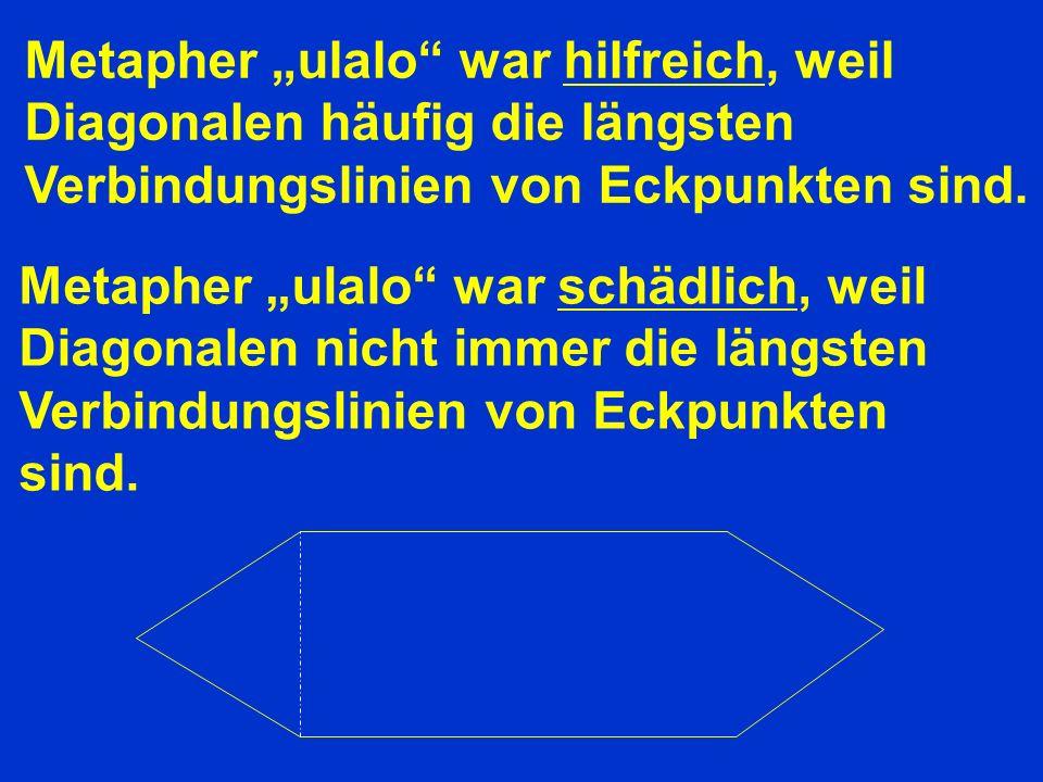 Metapher ulalo war hilfreich, weil Diagonalen häufig die längsten Verbindungslinien von Eckpunkten sind.