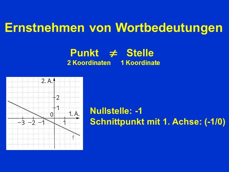Ernstnehmen von Wortbedeutungen Punkt Stelle 2 Koordinaten 1 Koordinate Nullstelle: -1 Schnittpunkt mit 1.