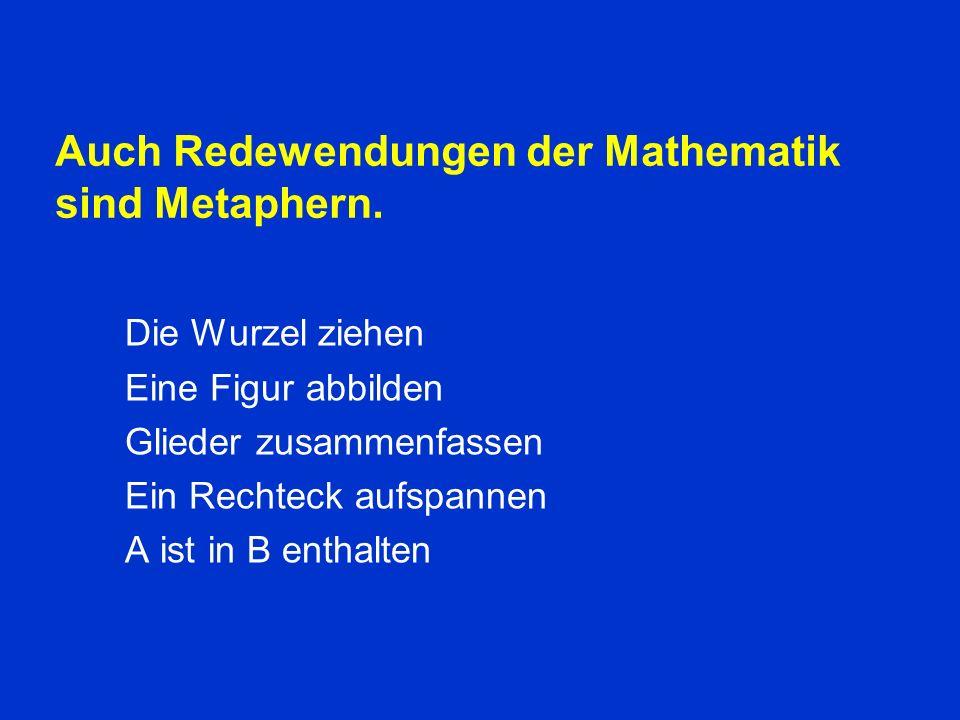 Auch Redewendungen der Mathematik sind Metaphern.