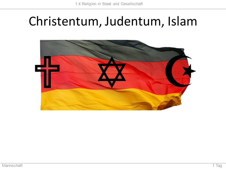 1.4 Religion in Staat und Gesellschaft Mannschaft 1 Tag Judentum http://www.kirchen.net/upload/23667_RB080301Judentum.jpg Ein Junge feiert seine Bar-Mizwa und darf zum ersten Mal den Wochenabschnitt aus der Tora lesen