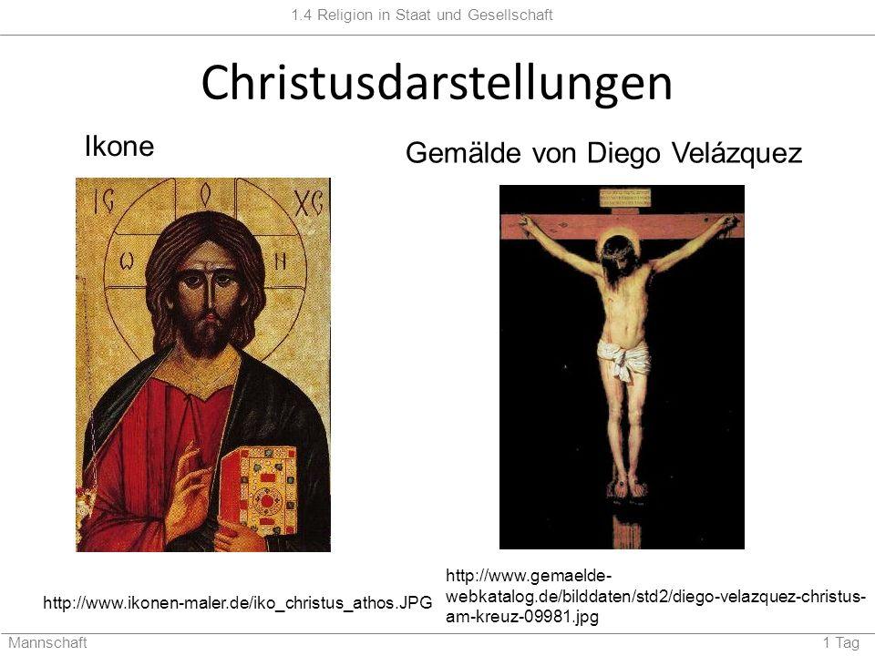 1.4 Religion in Staat und Gesellschaft Mannschaft 1 Tag Christusdarstellungen http://www.ikonen-maler.de/iko_christus_athos.JPG http://www.gemaelde- webkatalog.de/bilddaten/std2/diego-velazquez-christus- am-kreuz-09981.jpg Ikone Gemälde von Diego Velázquez