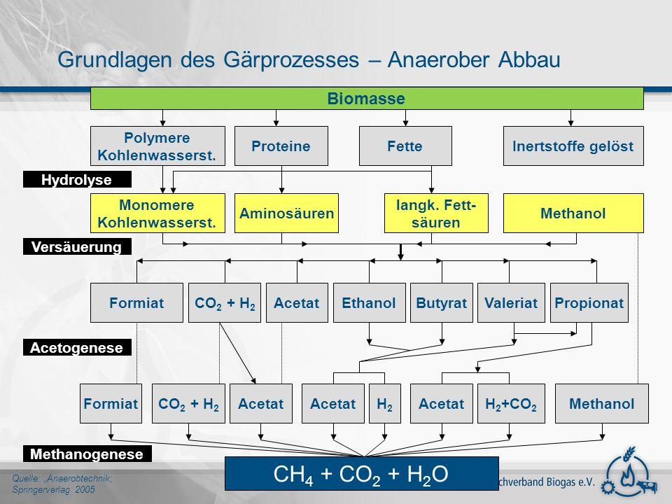 Grundlagen des Gärprozesses – Anaerober Abbau Quelle: Anaerobtechnik; Springerverlag 2005