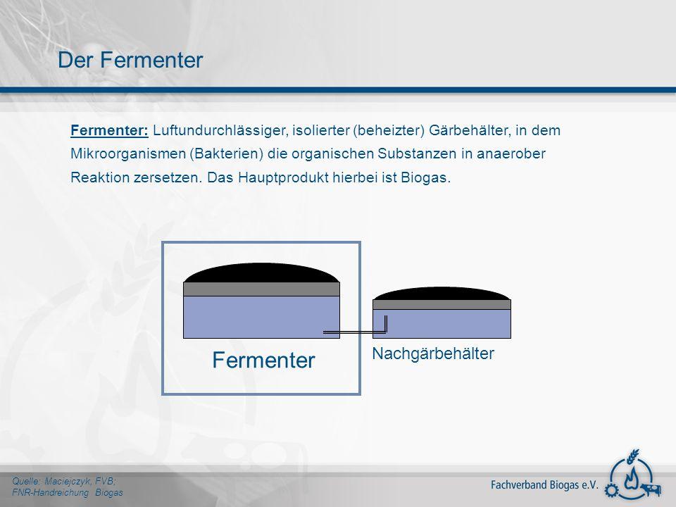 Fermenter: Luftundurchlässiger, isolierter (beheizter) Gärbehälter, in dem Mikroorganismen (Bakterien) die organischen Substanzen in anaerober Reaktio