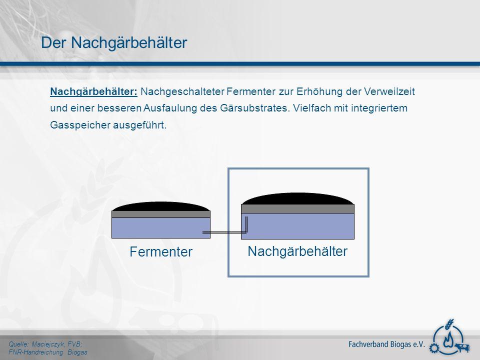 Nachgärbehälter: Nachgeschalteter Fermenter zur Erhöhung der Verweilzeit und einer besseren Ausfaulung des Gärsubstrates. Vielfach mit integriertem Ga