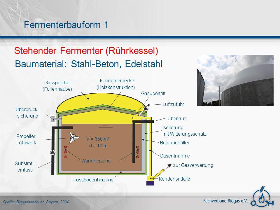 Stehender Fermenter (Rührkessel) Baumaterial:Stahl-Beton, Edelstahl Quelle: Biogashandbuch Bayern, 2004 Fermenterbauform 1