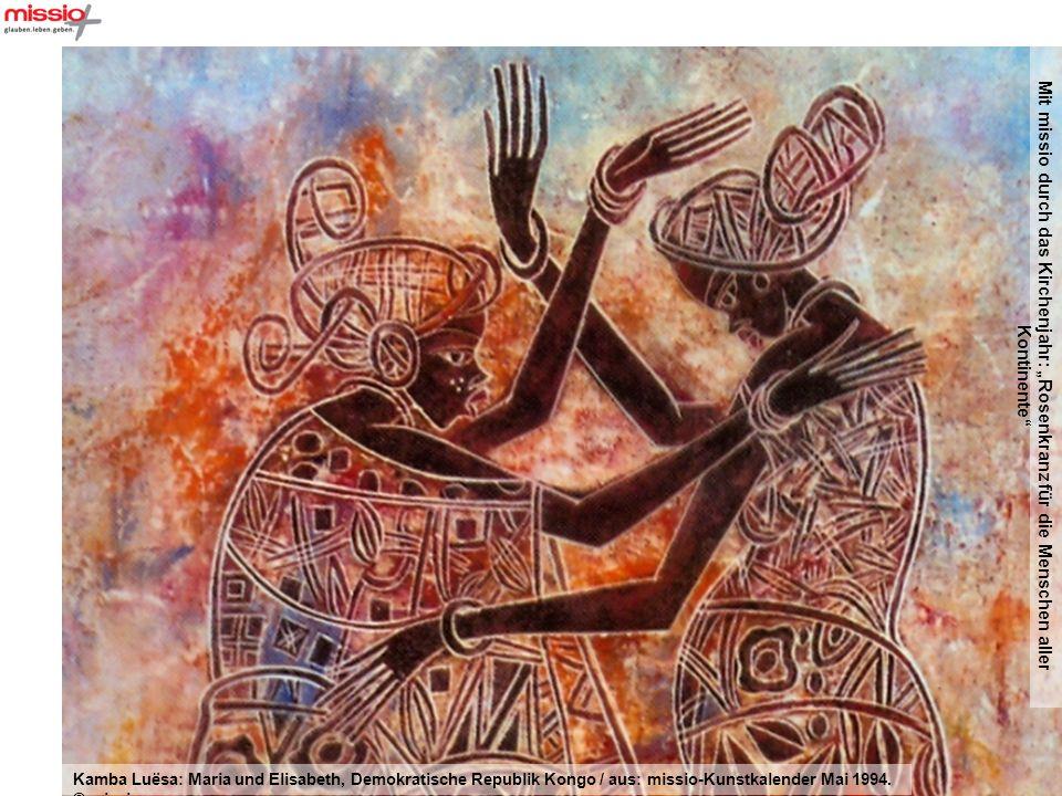 Mit missio durch das Kirchenjahr: Rosenkranz für die Menschen aller Kontinente Augustin Kolawole Olayinka: Maria und der 12jährige Jesus im Tempel, Nigeria / aus: missio-Kunstkalender Februar 2002.