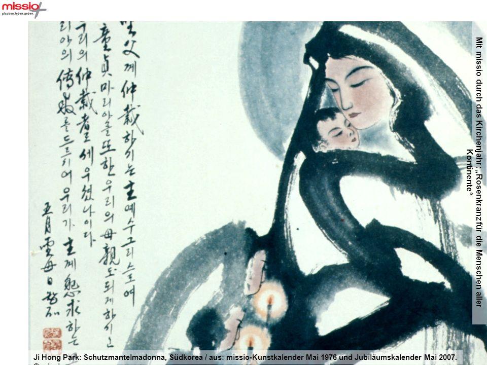 Mit missio durch das Kirchenjahr: Rosenkranz für die Menschen aller Kontinente Ji Hong Park: Schutzmantelmadonna, Südkorea / aus: missio-Kunstkalender