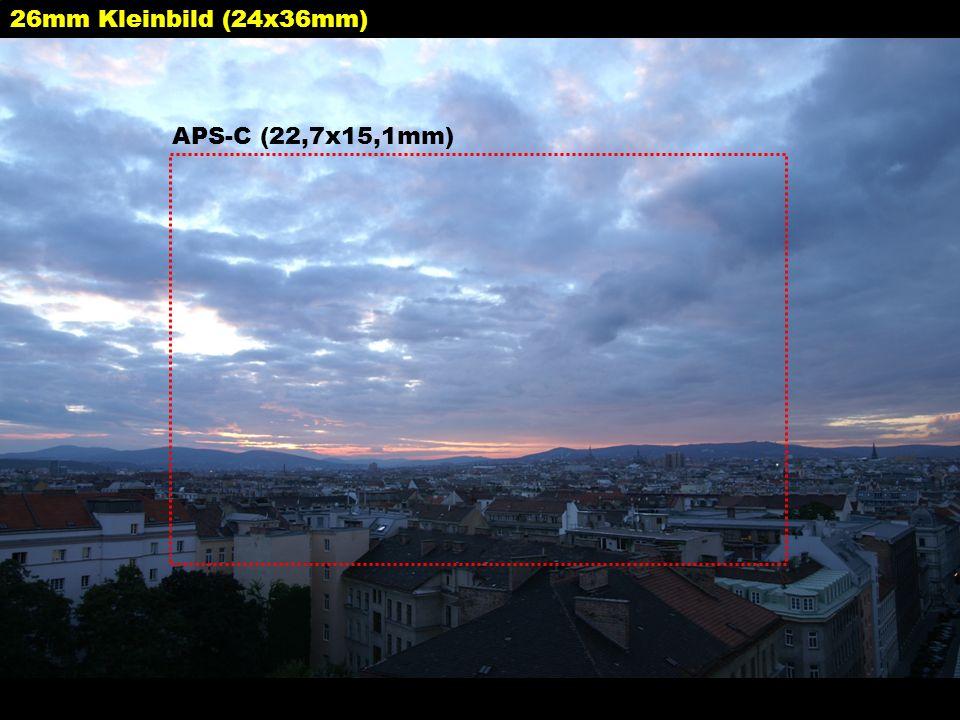 26mm Kleinbild (24x36mm) APS-C (22,7x15,1mm)