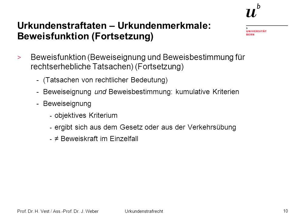 Prof. Dr. H. Vest / Ass.-Prof. Dr. J. Weber Urkundenstrafrecht 10 Urkundenstraftaten – Urkundenmerkmale: Beweisfunktion (Fortsetzung) > Beweisfunktion