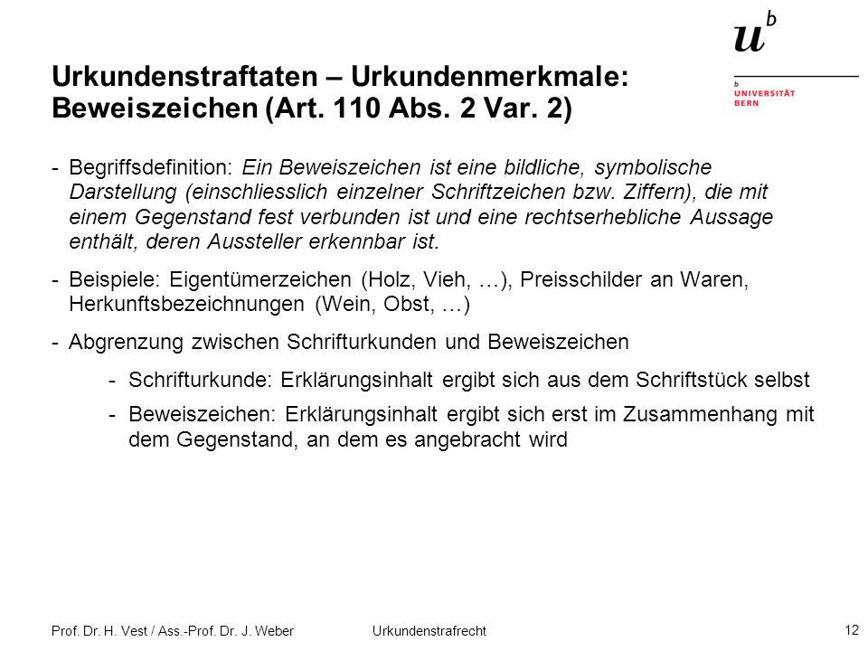 Prof. Dr. H. Vest / Ass.-Prof. Dr. J. Weber Urkundenstrafrecht 12 Urkundenstraftaten – Urkundenmerkmale: Beweiszeichen (Art. 110 Abs. 2 Var. 2) -Begri