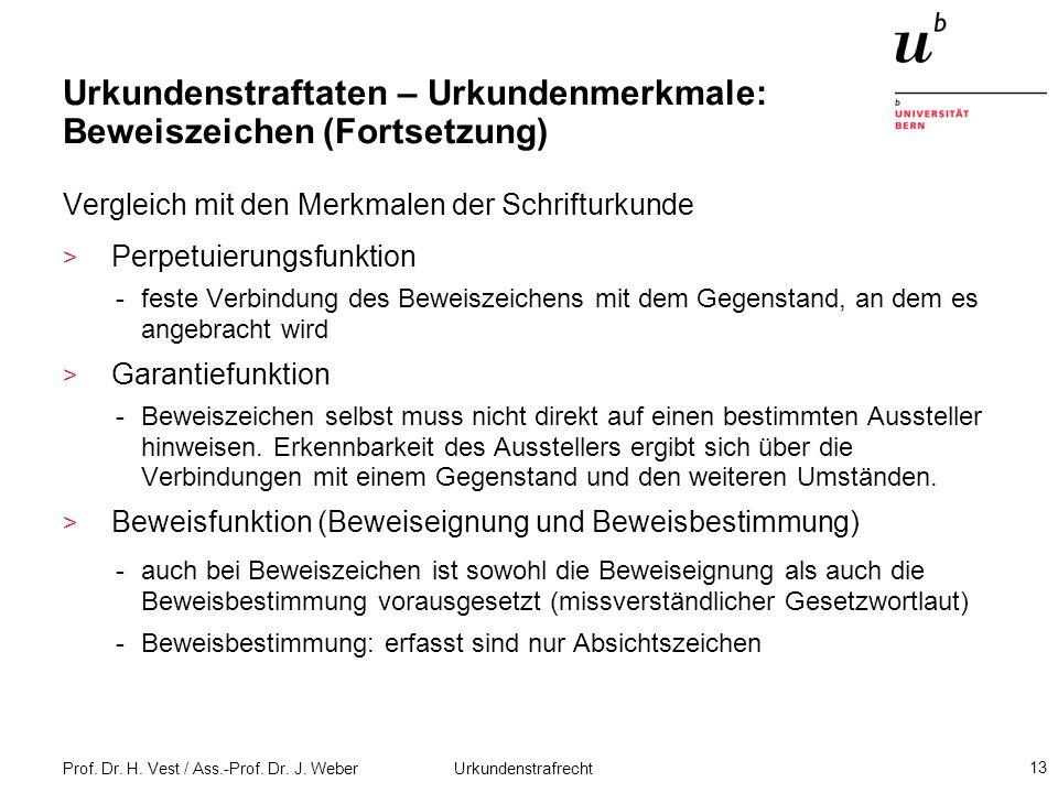 Prof. Dr. H. Vest / Ass.-Prof. Dr. J. Weber Urkundenstrafrecht 13 Urkundenstraftaten – Urkundenmerkmale: Beweiszeichen (Fortsetzung) Vergleich mit den
