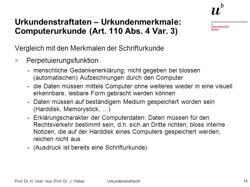 Prof. Dr. H. Vest / Ass.-Prof. Dr. J. Weber Urkundenstrafrecht 14 Urkundenstraftaten – Urkundenmerkmale: Computerurkunde (Art. 110 Abs. 4 Var. 3) Verg