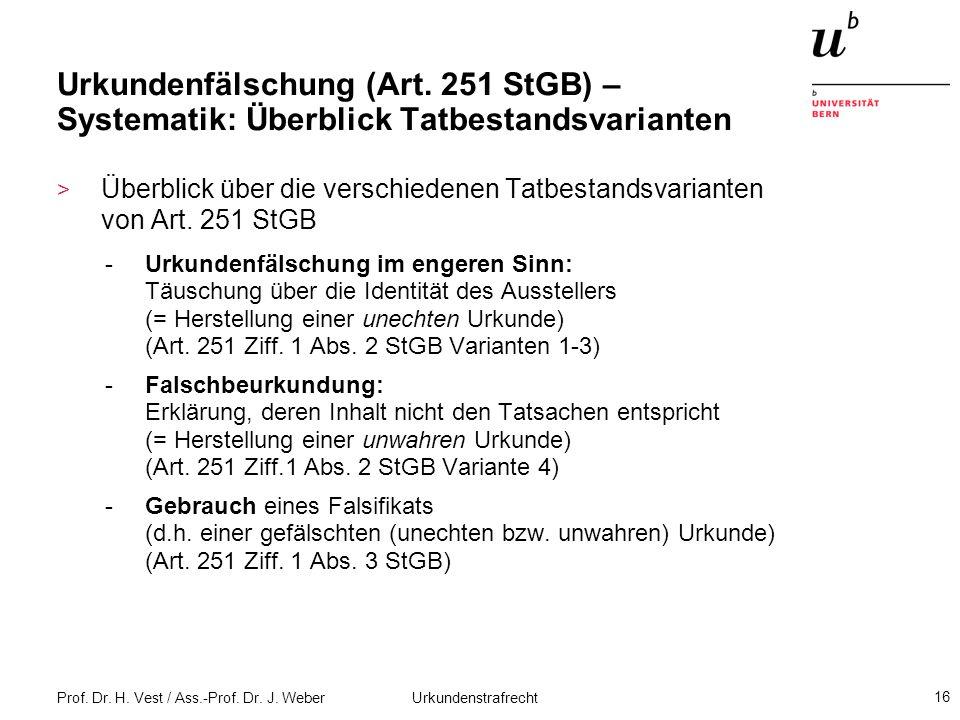 Prof. Dr. H. Vest / Ass.-Prof. Dr. J. Weber Urkundenstrafrecht 16 Urkundenfälschung (Art. 251 StGB) – Systematik: Überblick Tatbestandsvarianten > Übe