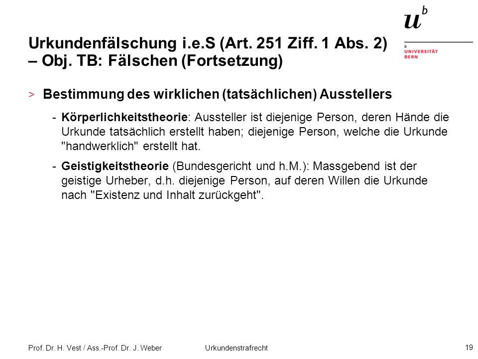 Prof. Dr. H. Vest / Ass.-Prof. Dr. J. Weber Urkundenstrafrecht 19 Urkundenfälschung i.e.S (Art. 251 Ziff. 1 Abs. 2) – Obj. TB: Fälschen (Fortsetzung)