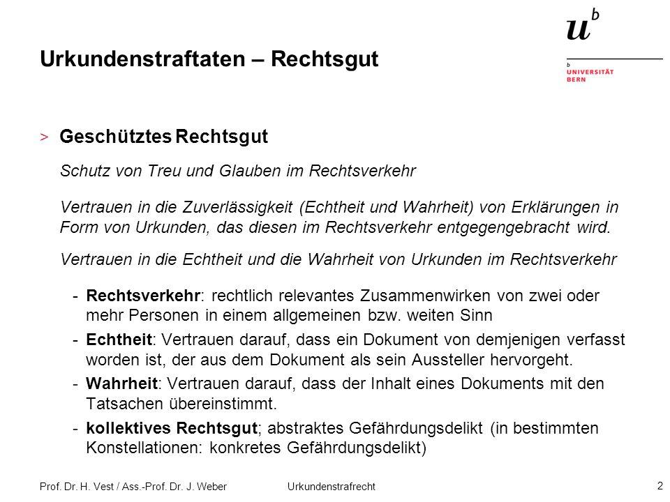 Prof. Dr. H. Vest / Ass.-Prof. Dr. J. Weber Urkundenstrafrecht 2 Urkundenstraftaten – Rechtsgut > Geschütztes Rechtsgut Schutz von Treu und Glauben im