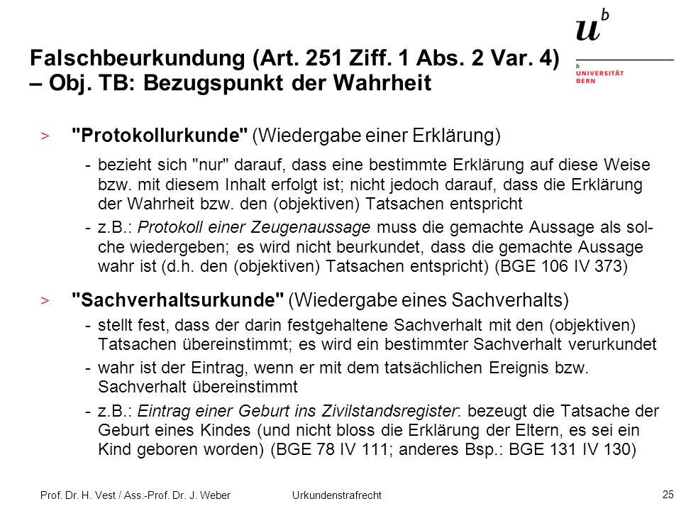 Prof. Dr. H. Vest / Ass.-Prof. Dr. J. Weber Urkundenstrafrecht 25 Falschbeurkundung (Art. 251 Ziff. 1 Abs. 2 Var. 4) – Obj. TB: Bezugspunkt der Wahrhe