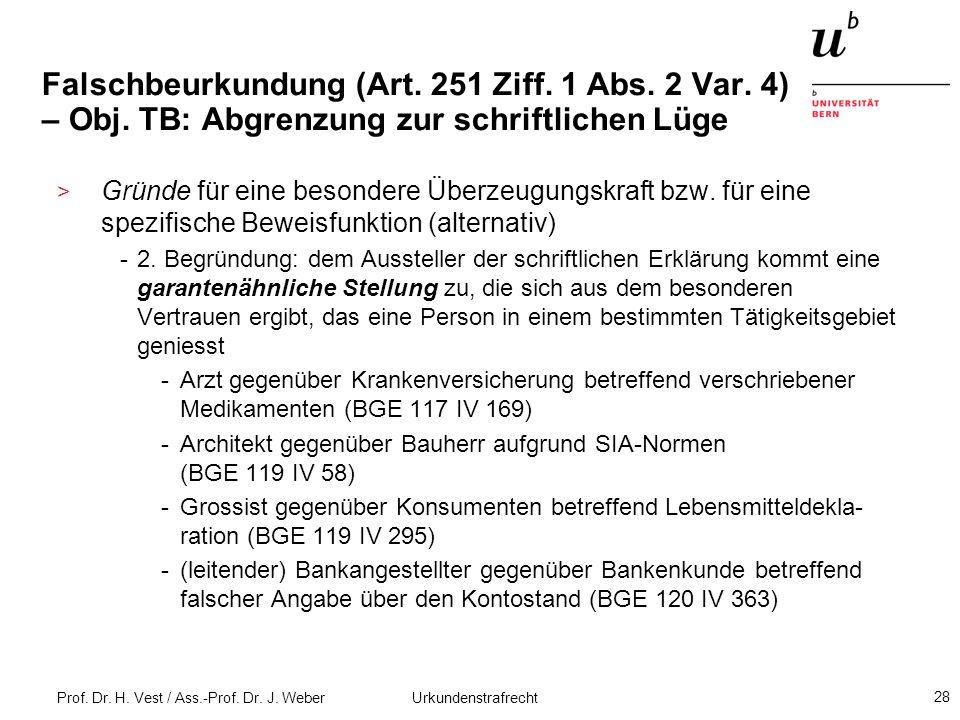 Prof. Dr. H. Vest / Ass.-Prof. Dr. J. Weber Urkundenstrafrecht 28 Falschbeurkundung (Art. 251 Ziff. 1 Abs. 2 Var. 4) – Obj. TB: Abgrenzung zur schrift