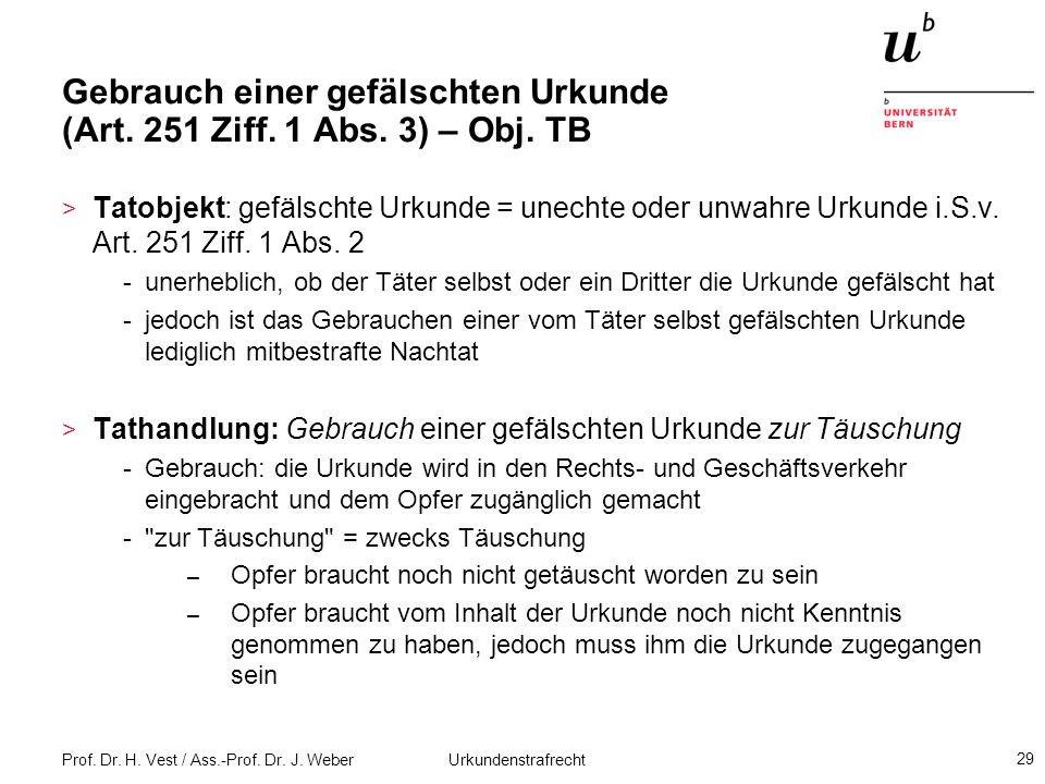Prof. Dr. H. Vest / Ass.-Prof. Dr. J. Weber Urkundenstrafrecht 29 Gebrauch einer gefälschten Urkunde (Art. 251 Ziff. 1 Abs. 3) – Obj. TB > Tatobjekt: