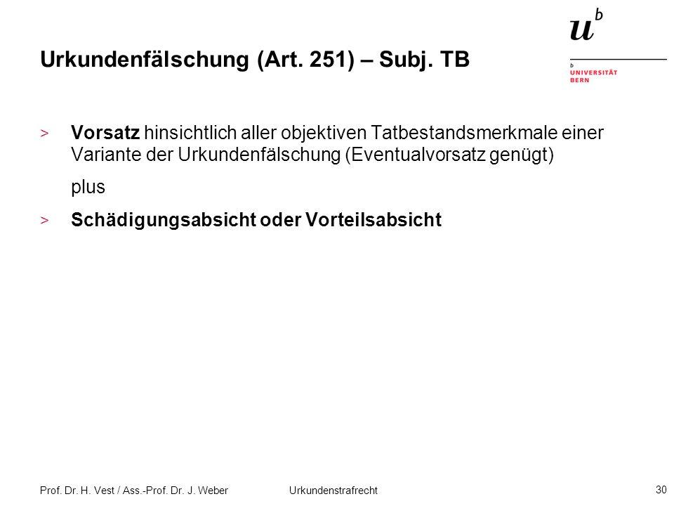 Prof. Dr. H. Vest / Ass.-Prof. Dr. J. Weber Urkundenstrafrecht 30 Urkundenfälschung (Art. 251) – Subj. TB > Vorsatz hinsichtlich aller objektiven Tatb