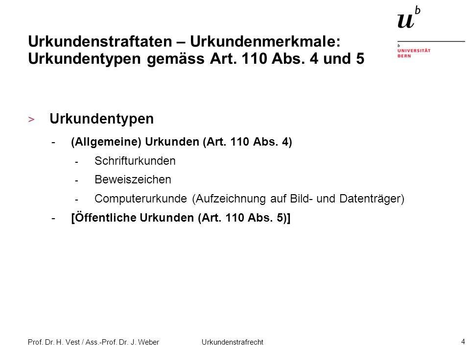 Prof.Dr. H. Vest / Ass.-Prof. Dr. J. Weber Urkundenstrafrecht 25 Falschbeurkundung (Art.