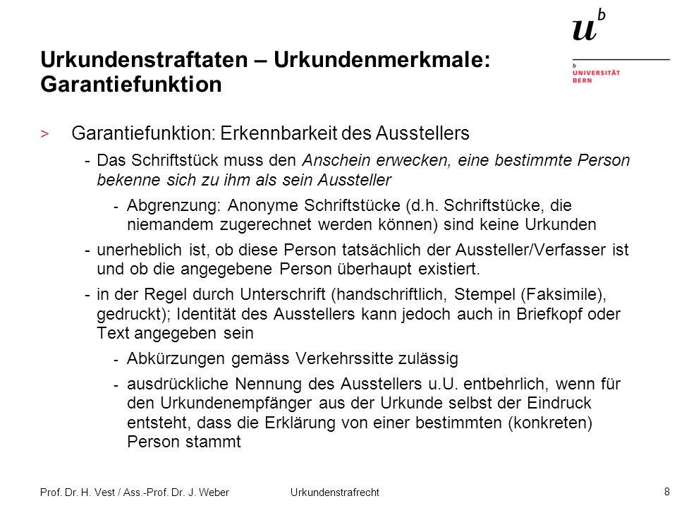 Prof.Dr. H. Vest / Ass.-Prof. Dr. J. Weber Urkundenstrafrecht 19 Urkundenfälschung i.e.S (Art.