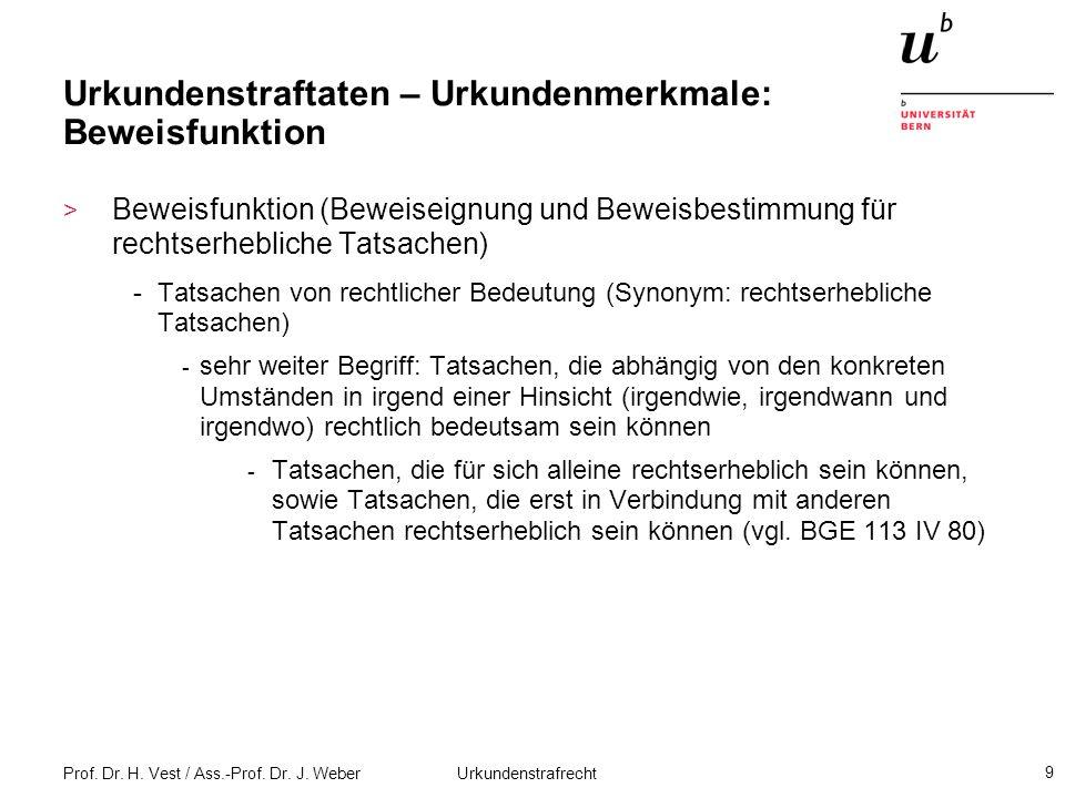 Prof. Dr. H. Vest / Ass.-Prof. Dr. J. Weber Urkundenstrafrecht 9 Urkundenstraftaten – Urkundenmerkmale: Beweisfunktion > Beweisfunktion (Beweiseignung