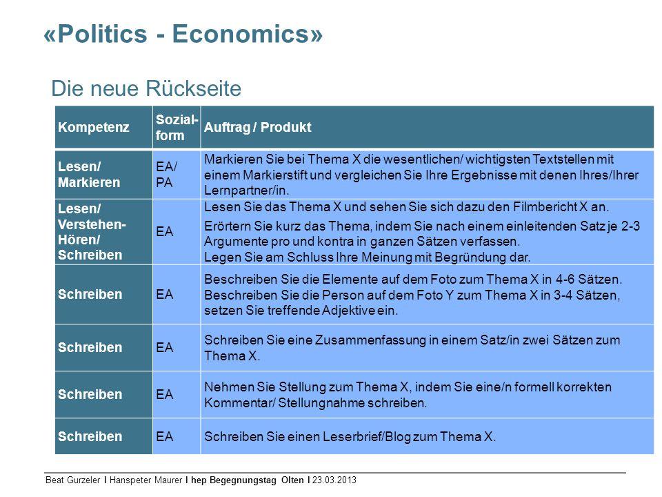 Beat Gurzeler l Hanspeter Maurer l hep Begegnungstag Olten l 23.03.2013 «Politics - Economics» Die neue Rückseite Kompetenz Sozial- form Auftrag / Pro