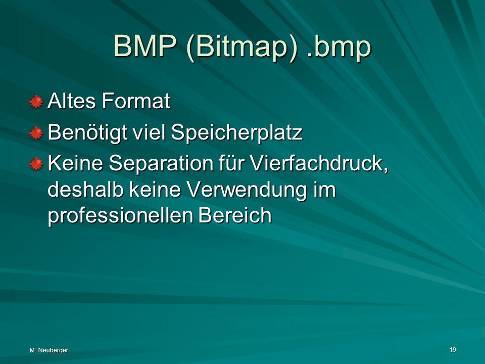 M. Neuberger 19 BMP (Bitmap).bmp Altes Format Benötigt viel Speicherplatz Keine Separation für Vierfachdruck, deshalb keine Verwendung im professionel