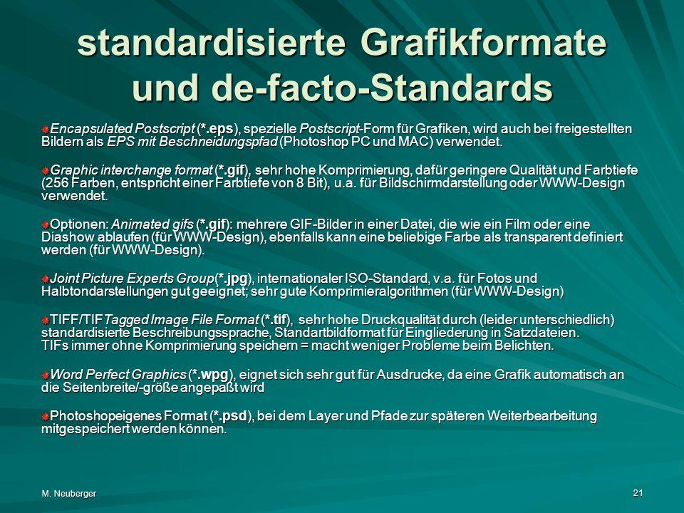 M. Neuberger 21 standardisierte Grafikformate und de-facto-Standards Encapsulated Postscript (*.eps), spezielle Postscript-Form für Grafiken, wird auc