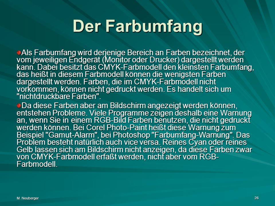 M. Neuberger 26 Der Farbumfang Als Farbumfang wird derjenige Bereich an Farben bezeichnet, der vom jeweiligen Endgerät (Monitor oder Drucker) dargeste