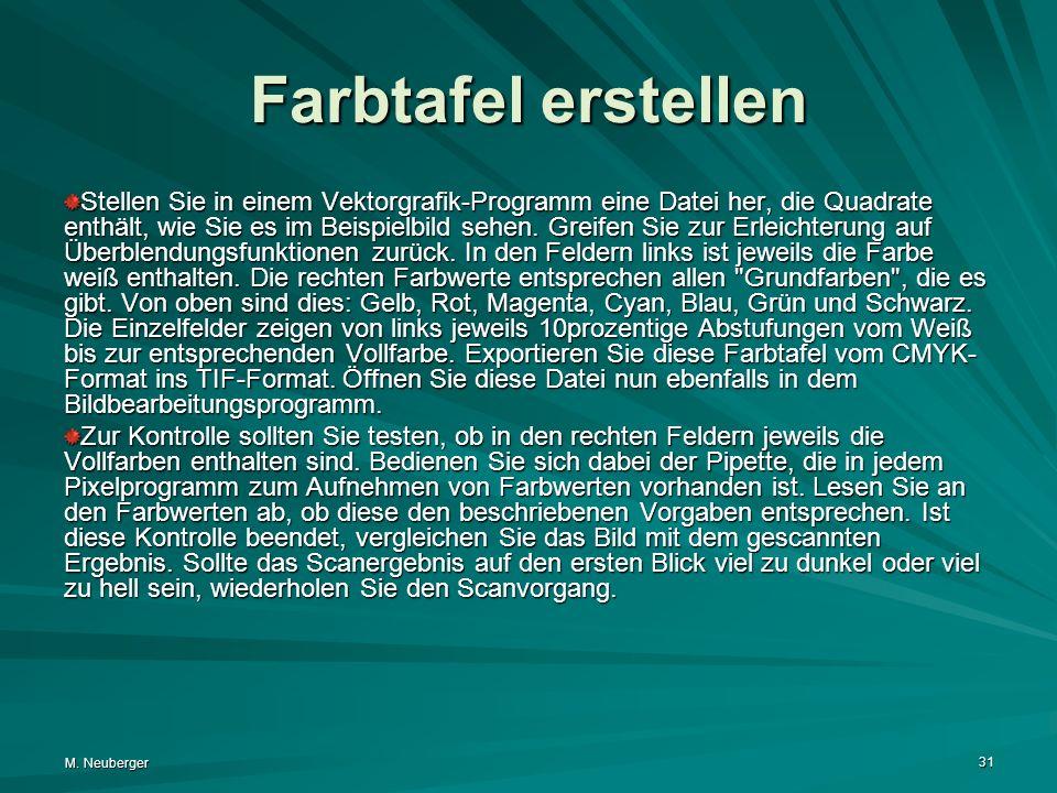 M. Neuberger 31 Farbtafel erstellen Stellen Sie in einem Vektorgrafik-Programm eine Datei her, die Quadrate enthält, wie Sie es im Beispielbild sehen.