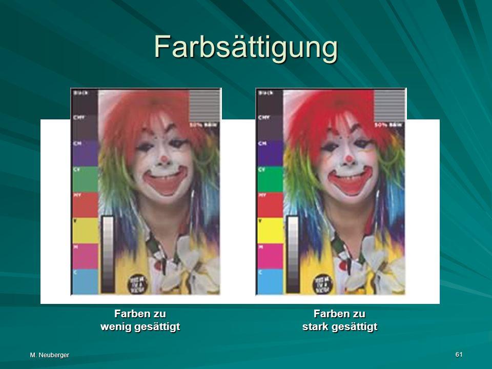 M. Neuberger 61 Farbsättigung Farben zu wenig gesättigt Farben zu stark gesättigt