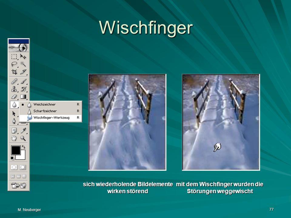 M. Neuberger 77 Wischfinger sich wiederholende Bildelemente wirken störend mit dem Wischfinger wurden die Störungen weggewischt