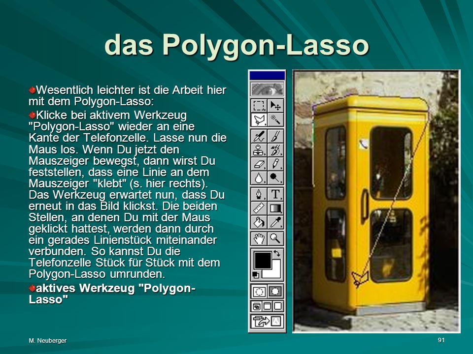 M. Neuberger 91 das Polygon-Lasso Wesentlich leichter ist die Arbeit hier mit dem Polygon-Lasso: Klicke bei aktivem Werkzeug