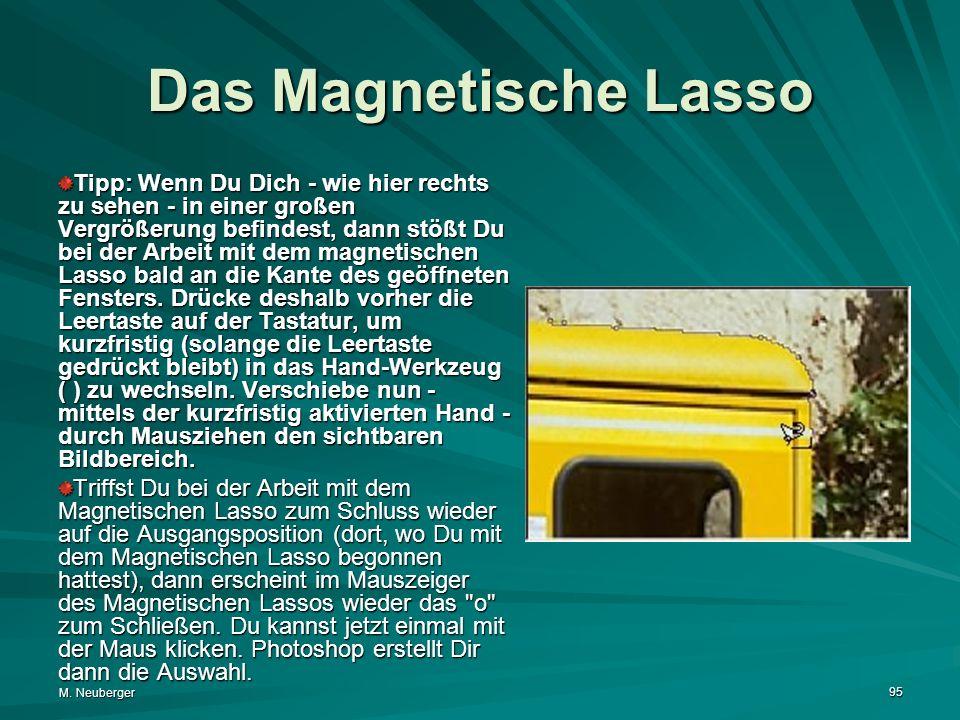 M. Neuberger 95 Das Magnetische Lasso Tipp: Wenn Du Dich - wie hier rechts zu sehen - in einer großen Vergrößerung befindest, dann stößt Du bei der Ar
