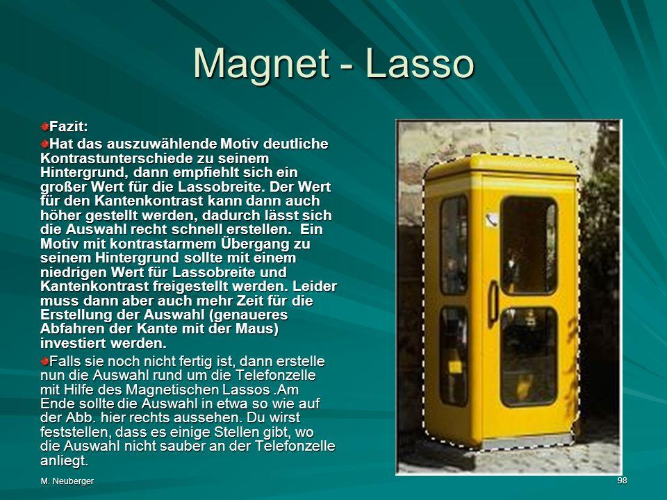 M. Neuberger 98 Magnet - Lasso Fazit: Hat das auszuwählende Motiv deutliche Kontrastunterschiede zu seinem Hintergrund, dann empfiehlt sich ein großer