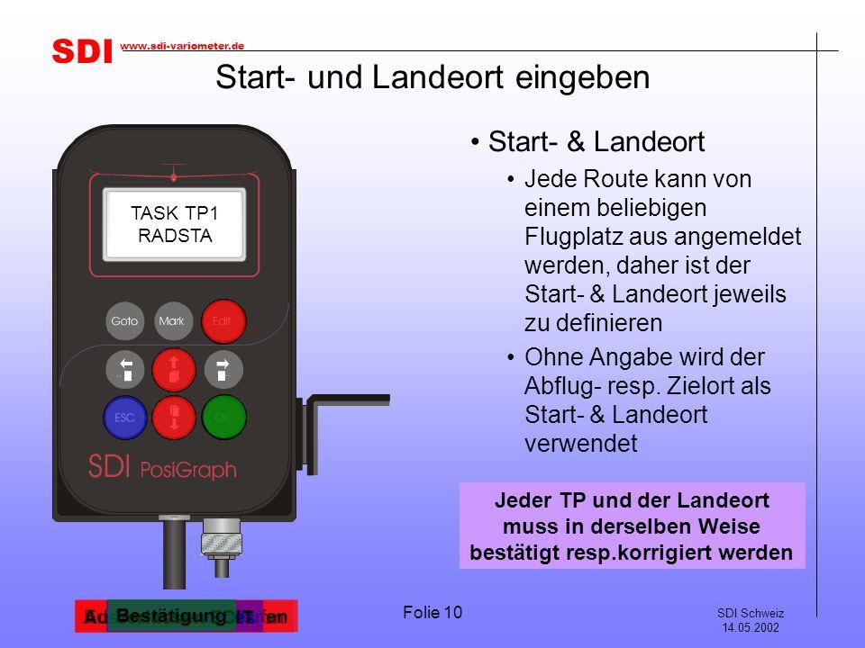 SDI SDI Schweiz 14.05.2002 www.sdi-variometer.de Folie 10 Start- und Landeort eingeben Start- & Landeort Jede Route kann von einem beliebigen Flugplat