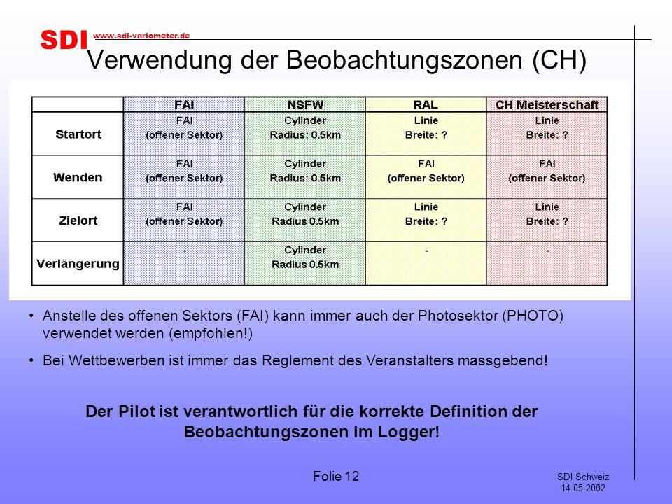 SDI SDI Schweiz 14.05.2002 www.sdi-variometer.de Folie 12 Verwendung der Beobachtungszonen (CH) Anstelle des offenen Sektors (FAI) kann immer auch der Photosektor (PHOTO) verwendet werden (empfohlen!) Bei Wettbewerben ist immer das Reglement des Veranstalters massgebend.