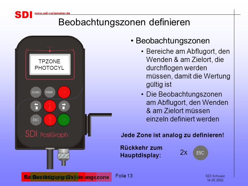 SDI SDI Schweiz 14.05.2002 www.sdi-variometer.de Folie 13 Beobachtungszonen definieren Beobachtungszonen Bereiche am Abflugort, den Wenden & am Zielort, die durchflogen werden müssen, damit die Wertung gültig ist Die Beobachtungszonen am Abflugort, den Wenden & am Zielort müssen einzeln definiert werden Editiermodus aufrufen TASK ST.