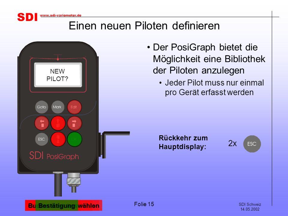 SDI SDI Schweiz 14.05.2002 www.sdi-variometer.de Folie 15 Einen neuen Piloten definieren Der PosiGraph bietet die Möglichkeit eine Bibliothek der Piloten anzulegen Jeder Pilot muss nur einmal pro Gerät erfasst werden TASK ST.