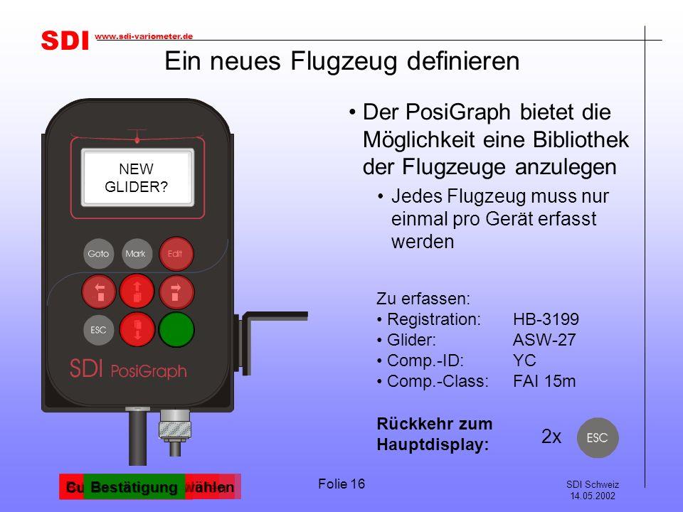 SDI SDI Schweiz 14.05.2002 www.sdi-variometer.de Folie 16 Ein neues Flugzeug definieren Der PosiGraph bietet die Möglichkeit eine Bibliothek der Flugzeuge anzulegen Jedes Flugzeug muss nur einmal pro Gerät erfasst werden TASK ST.