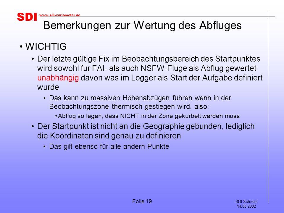 SDI SDI Schweiz 14.05.2002 www.sdi-variometer.de Folie 19 Bemerkungen zur Wertung des Abfluges WICHTIG Der letzte gültige Fix im Beobachtungsbereich d