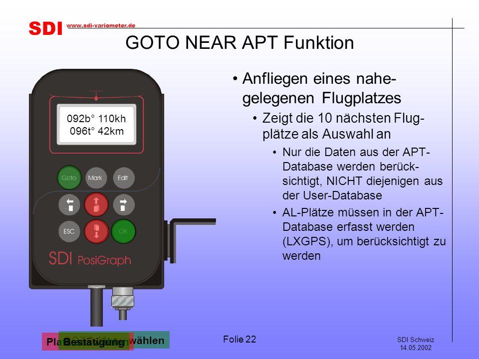 SDI SDI Schweiz 14.05.2002 www.sdi-variometer.de Folie 22 GOTO NEAR APT Funktion Anfliegen eines nahe- gelegenen Flugplatzes Zeigt die 10 nächsten Flug- plätze als Auswahl an Nur die Daten aus der APT- Database werden berück- sichtigt, NICHT diejenigen aus der User-Database AL-Plätze müssen in der APT- Database erfasst werden (LXGPS), um berücksichtigt zu werden 220b° 120kh 210t° 90km GOTO Menu wählen GOTO NEAR APT Bestätigung GOTO SCHAENIS Platz auswählen GOTO BAD-RAGA Bestätigung 092b° 110kh 096t° 42km