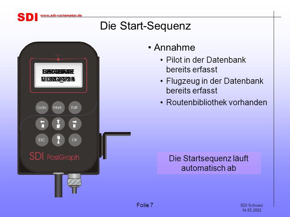 SDI SDI Schweiz 14.05.2002 www.sdi-variometer.de Folie 7 Die Start-Sequenz Annahme Pilot in der Datenbank bereits erfasst Flugzeug in der Datenbank bereits erfasst Routenbibliothek vorhanden S/N 00749 VERS.