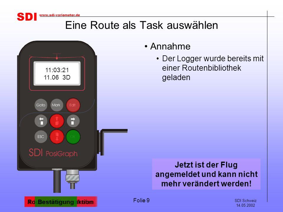 SDI SDI Schweiz 14.05.2002 www.sdi-variometer.de Folie 20 Das Navigieren mit dem Logger Der Logger bietet im Flugmenu 6 verschiedene Seiten Umschaltung durchTasten 3 Navigationsseiten 1 Windanzeige (einfache Berechnung!) 1 Info über den Zielpunkt 1 Uhrzeit, Datum & Satellitenstatus Das Menü GOTO bietet viele Navigationsmöglichkeiten Umschaltung durchTasten GOTO NEAR APT GOTO LAST WPT GOTO TP GOTO APT GOTO TASK