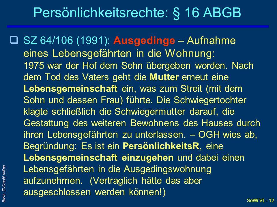 SoWi VL - 12 Barta: Zivilrecht online Persönlichkeitsrechte: § 16 ABGB qSZ 64/106 (1991): Ausgedinge – Aufnahme eines Lebensgefährten in die Wohnung: