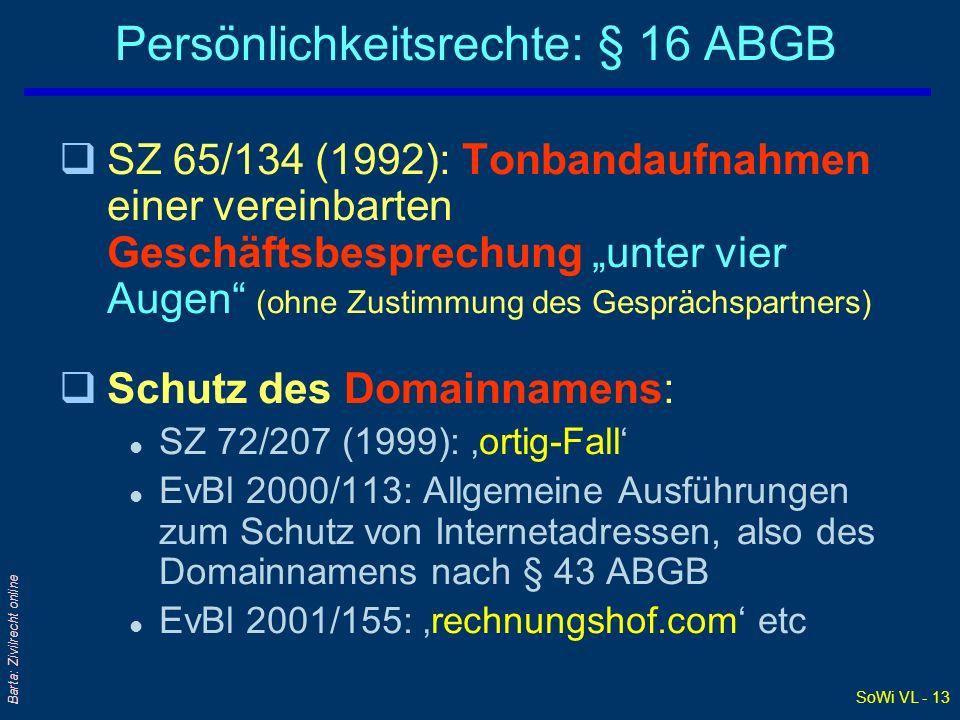 SoWi VL - 13 Barta: Zivilrecht online Persönlichkeitsrechte: § 16 ABGB qSZ 65/134 (1992): Tonbandaufnahmen einer vereinbarten Geschäftsbesprechung unt